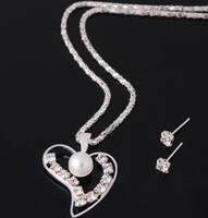 Wholesale Silver Crystal Pearl Pendant Necklace Stud Earrings Fashion Jewelry Set Wedding Gift