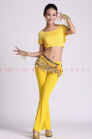 Belly Dancing Applique Chiffon Belly dance dancing sexy dual layer crimping top+tribal harem pants+256 coins hip scarf wear costume
