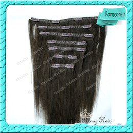 Wholesale Top Lace Clips In Hair Extensions Dark Brown Indian Human Remy Hair Weft Straight