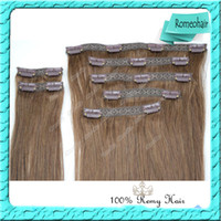 Wholesale Hot Sale Top Lace Clips In Hair Extension Malaysian Human Remy Hair Weft Straight