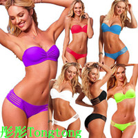 Wholesale Top Slae Sexy Bikini Lady Swimwear push up Strapless Beach Wear Bathing Suit ds235