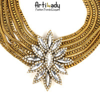 Wholesale Artilady choker crystal flower gold plated choker necklace chunky black necklace statement necklace