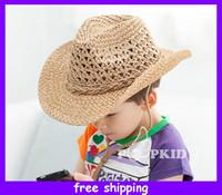 Wholesale Children Summer Hat Baby Fedora Hat Kids Jazz Cap Baby Straw Cowboy Hat Boys Fedoras
