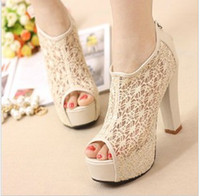 Wholesale 2013 sexy lace fish mouth shoes summer sandals with thick shoes high heeled shoes hot Nude shoes