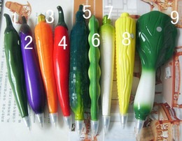Wholesale New Novelty ball pen vegetable fruit pen babys school pen xmas boy girls gifts