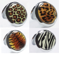 Wholesale Cosmetic Compact Mirror Stainless Steel Make Up Mirror Gift Fashion Animal Print Free Ship