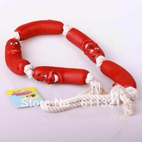 Wholesale New Fashion Pet Dog Toy Vinyl Sausages Chew Bite Rope Toys Training Toy cm V3485