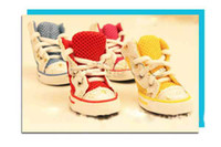 Wholesale Grid dogs rain shoes anti skidding watersproof shoes puppy dog shoes pet shoes T9235