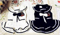 Dresses clothing dog - Dog navy skirt dog clothes pet clothes British style dog T shirt clothes white blue colors T9100