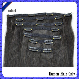 Wholesale Full Head Top Lace Clips In Hair B Malaysian Human Remy Hair Weft Straight