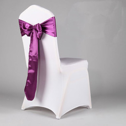 Wholesale 50PCS Satin Chair Cover Sash Bow Ribbon Wedding Party Colors Decorations cm X cm