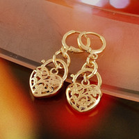 Wholesale NEW LOVELY K CT Real yellow gold filled heart hoop earrings Fashion jewelry