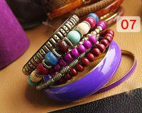 Bohemian Women's Party 3pcs+ Bracelets Lady Bangle Jewelry Fashion Retro style distinctive luxury Wooden Carving 7 color