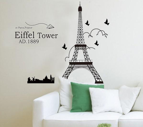 Eiffel Tower Wall Art removable eiffel tower wall stickers decals wall art living room