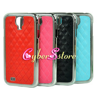 Wholesale 50pcs Electroplated Chrome Diamond Grain Leather Back Case Cover Samsung Galaxy S4 S IV i9500