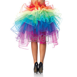 Wholesale New Sexy Colorful Layer Rainbow Tulle Dress Bouffant Tail Burlesque Skirt