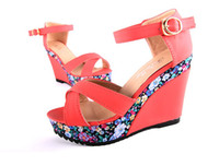 Wholesale N092 Fashion platform wedges high heeled sandals women s shoes Heel cm