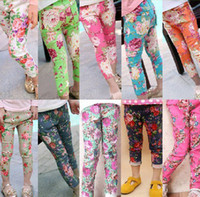 Wholesale childrens kids stretch jeans girls spring bottoms floral back pocket leggings tights skinny jeans trousers pants