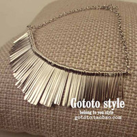 Wholesale New style neck chain Fashion Noble Metal necklet Punk Gold Color Camber Spike Tassels Necklace t5037