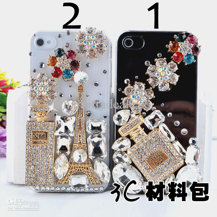 2016 3d luxurious perfume bottle rhinestone art craft for 3d decoration for phone cases