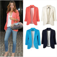 Wholesale New Womens Fashion Candy Color Seventh Volume Sleeve Jacket Blazer Colors