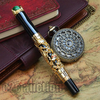 Wholesale JINHAO GOLDEN MEDIUM KGP NIB FOUNTAIN PEN DRAGON KING PLAY GREEN PEARL