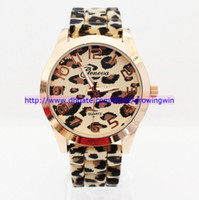 Wholesale Fashion watch Lady GENEVA Gold Plated Sexy Leopard quartz Silicone watch women jelly wrist watches