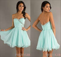 Reference Images Sweetheart Chiffon Aqua Color Graduation Dresses Short Mini length Chiffon Beadings Prom Dresses XJ95