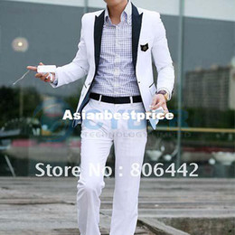 Wholesale New White Stylish Casual Slim fit One Button Men s Suit Pop Blazer Coat Jacket
