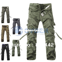 Wholesale 2014 Fashion New Brand Tactical Pants Military Camping Loose Men Pants Outdoor Hiking Trousers Camouflage Cargo Trousers