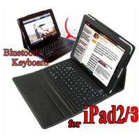 Wholesale Leather Case wireless Bluetooth Keyboard for iPad iPad2 nd stand bag Multi color