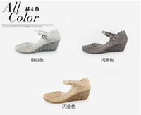 Wholesale New classic high heeled slope with sandals jelly shoes hollow nest shiny sequins crystal woman