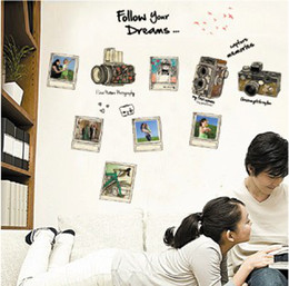Wholesale Removable Photos Wall Stickers Decals Living Room Camera Wall Decor x70cm Wall Art Stickers