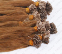 "0.5g 500s/set brown Wholesale 500S 18"" flat Tip Remy Human Hair Extensions,hair extension 8# light brown, 0.5g s"