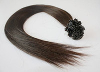 "black straight 0.5g Wholesale - 500S 18"" flat Tip Remy Human Hair Extensions,hair extension 2# dark brown, 0.5g s"