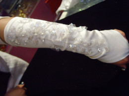 Wholesale Hot Sale In Stock quot White Ivory Crystals Wedding Fingerless Satin Bridal gloves