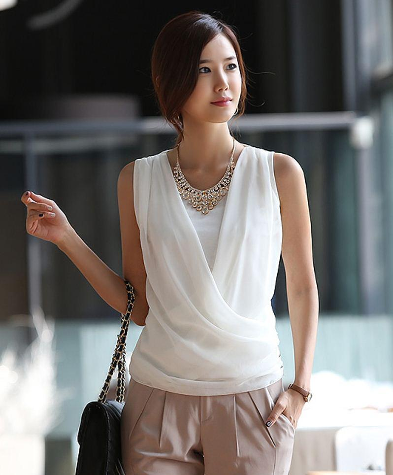 Fashion New Summer Silk Women Blouse/2013 Summer Korean Ladiesslim ...