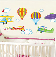 Removable air aircraft - Hot Air Balloon And Aircraft Wall Stickers Kids Room Wall Stickers Decals Baby Room Wall Decor