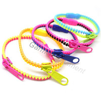 Wholesale 2013 New trendy zipper bracelet two tone double color hip hop plastic metal zip American bracelets