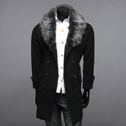 Wholesale New Arrive men s heavy hair collar Medium style double breasted trench coat outerwear