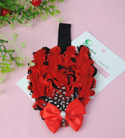 Flower Headbands Lace New toddler baby boys girls feather headhands cute hair clips infant kids red flower headhand 20pcs