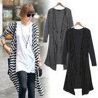 Wholesale Fashion Women Lady Slim Lapel Scarf Collar Long sleeve Long Knitted Cardigan Tops Outwear