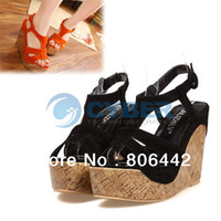 Women Spool Heel Adult 2013 New Lady Women's Platform Wedge Sandals High Heel Sandals Shoes Black Red Free Shipping 13594