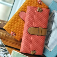 Wholesale Fish fashion color block long design embossed women s day clutch women s cowhide wallet
