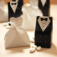 Favor Boxes White Paper Hot Candy Box Bride Groom Wedding Bridal Favor Gift Boxes Gown Tuxedo 100 pcs = 50 pair New
