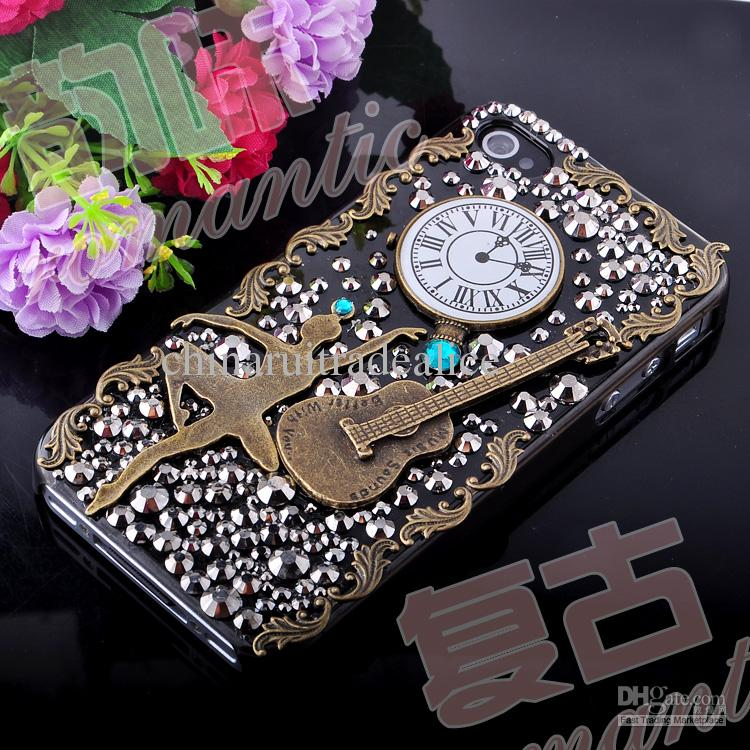 3d luxurious girl vintage rhinestone art craft cellphone