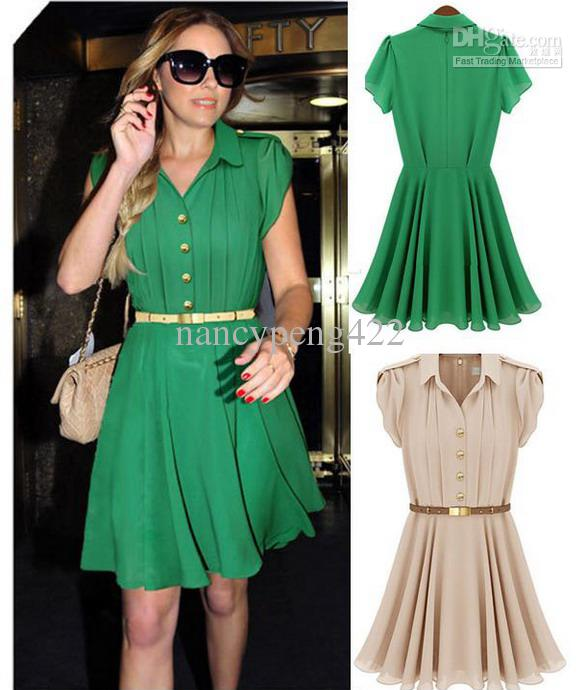 Summer Dresses For Women Green Color Fashion Short Button Chiffon ...