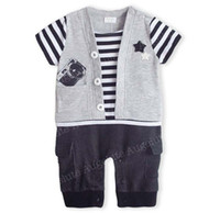 Stripe Christmas Boy Baby One Piece Romper Kids Climb Clothes Boys Stripe Short Sleeve Jumpsuit Rompers Infant Clothing