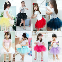 Wholesale Hot Sell Summer Girls Wear Candy colored Layer Yarn Bow Cake Skirt Ball Gown TUTU Skirt