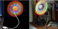 Wholesale Mini Fashion Flexible Neck USB Fan With Multi Colour LED Light For PC Laptop